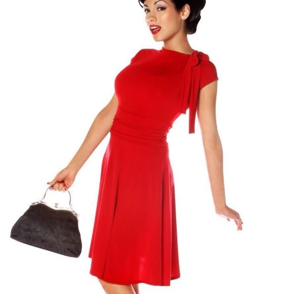 9255667e24c Retrolicious Plus Size 4X Retro Red Neck Tie Dress NWT